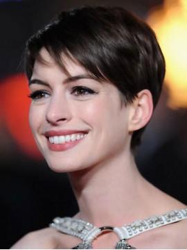 Anne Hathaway Pixie Kurz Spitzenfront Glatt Remy Echthaar Perüc