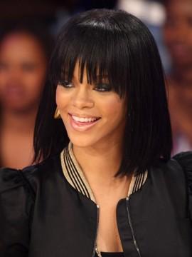 Rihanna Mittel Kappenlos Glatt 100% Remy Echthaar Perücke
