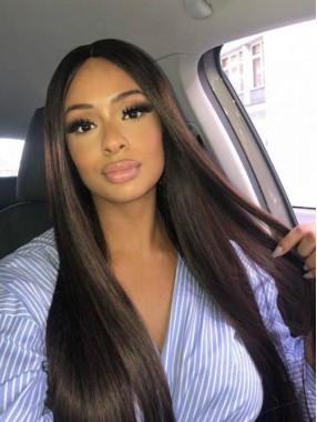 Seidige Gerade 360 Lace Frontal Perücke Mit Highlight