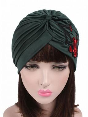 Mode Stretch Baumwolle Damen Turban Mit Stickerei Acc031