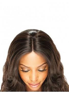 Natürliche Schwarze Mittel-geteilte Remy Haar Wellige Spitzeschliessen