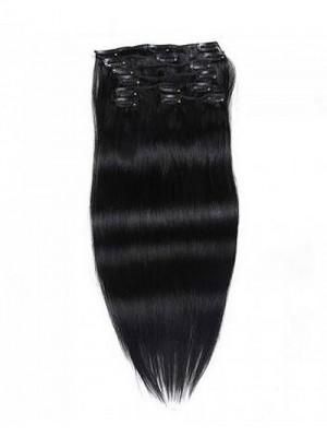 100g Jet Black Clip In Haarverlängerungen Reines Haar 8 Teile/satz