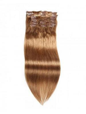 100g hellbraune reine Haar-Verlängerungs-Klipp im Haar 8Pcs/set