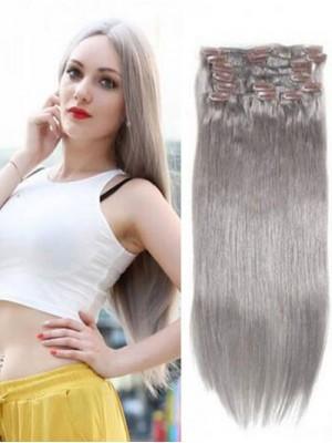 100g Grau Clip In Haarverlängerungen Günstige Synthetische Haarverlängerung 8 Teile/satz
