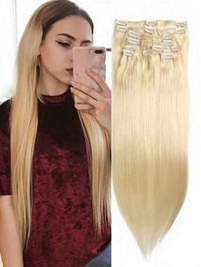 100g Light Blonde Clip In Haarverlängerungen Günstige Reine Haarverlängerungen 8 Teile/satz