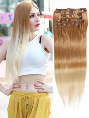 8 Stück voller Kopf Clip in Haarverlängerungen Ombre Brown Blonde