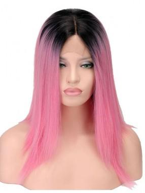 Erstaunliche Lang Gerade Zweifarbige Farbe Echthaar Perücke