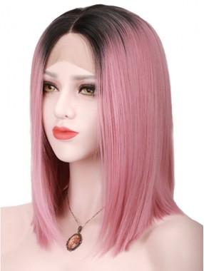 Elegante Spitze Zweifarbige Farbe Echthaar Perücke