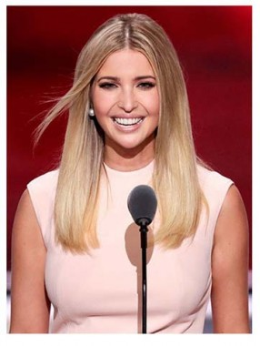 Ivanka Trump Zwei Farben Ombre Mittel-Länge Lace Front Echthaar Perücke