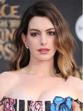 Anne Hathaway zwei Ton Farben Ombre Remy Echthaar Perücken