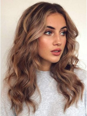 Blondes Haar Braun Wurzeln Lace Front  Synthetisch Perücke
