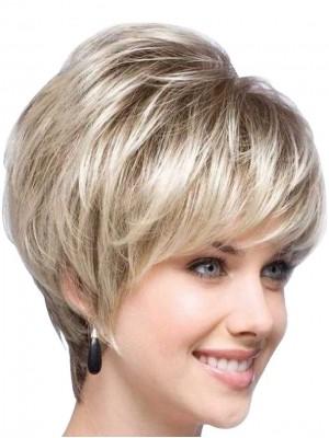 Blonde Kurz Gerade Capless Synthetische Perücke