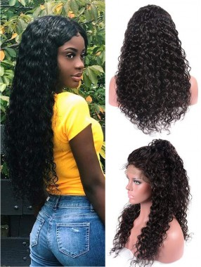 130% Dichte Virgin Curly Wave Remy Echthaar Perücke