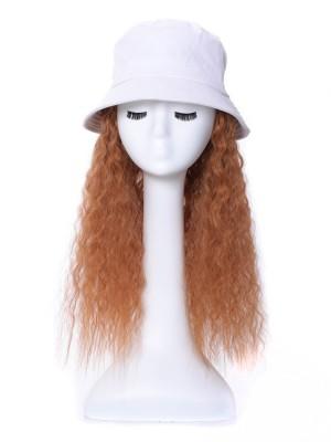 Locking Synthetik Extensionen der Haare Perücke Mit Weiß Hut