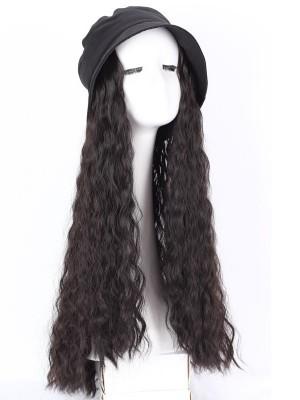 Lang Locking Synthetik Extensionen der Haare Perücke Mit Schwarz Hut
