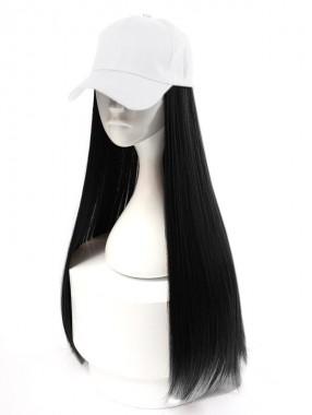 Schwarz Lang Gerade Perücke Mit Weiß Baseball Hut