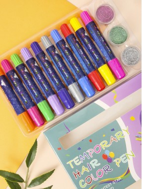 Haarfärbemittel Einweg-temporärer Haarfärbestift 10-Farben-Haarfärbemittel Crayon Glitter Powder Set