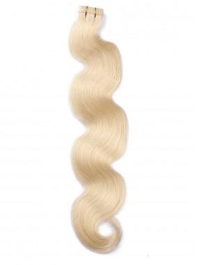 Blond Lange Wellig PU Haarsträhnen