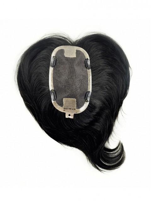 Schwarz Mittel Monofilament Haarteile Toupée