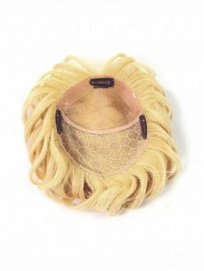 Blond Kurz Gerade Monofilament Haarteile Toupée