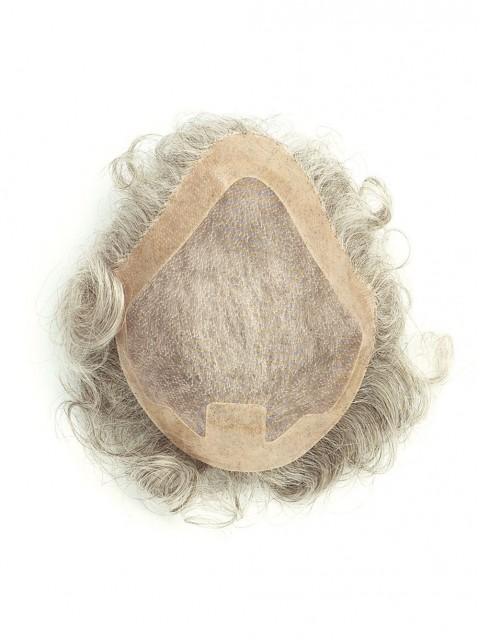 Gray Wellig Monofilament Haarteile Toupée