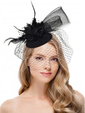 Schwarze Frauen Tea Party Stirnband Kentucky Derby Hochzeit Cocktail Flower Mesh Federn Haarspange