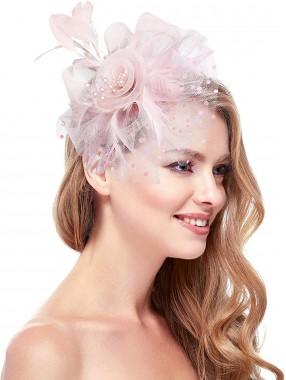 Rosa Frauen Tea Party Stirnband Kentucky Derby Hochzeit Cocktail Flower Mesh Federn Haarspange
