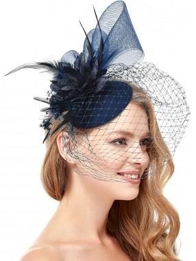 Blaue Frauen Tea Party Stirnband Kentucky Derby Hochzeit Cocktail Flower Mesh Federn Haarspange