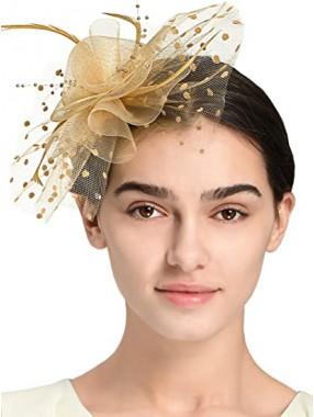 Gold Frauen Tea Party Stirnband Kentucky Derby Hochzeit Cocktail Flower Mesh Federn Haarspange