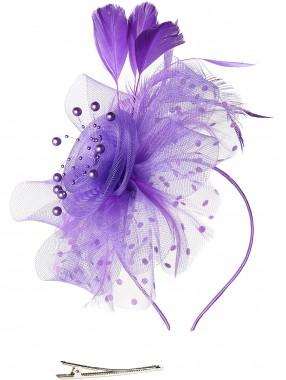 Lila Frauen Tea Party Stirnband Kentucky Derby Hochzeit Cocktail Flower Mesh Federn Haarspange