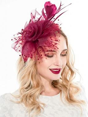 Burgunder Frauen Tea Party Stirnband Kentucky Derby Hochzeit Cocktail Flower Mesh Federn Haarspange