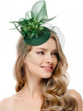 Grüne Frauen Tea Party Stirnband Kentucky Derby Hochzeit Cocktail Flower Mesh Federn Haarspange