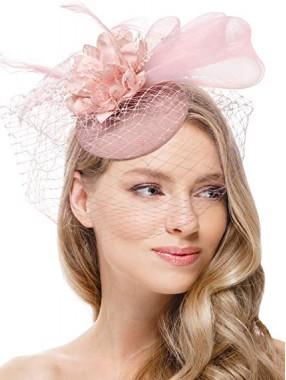 Erröten rosa Frauen Tea Party Stirnband Kentucky Derby Hochzeit Cocktail Flower Mesh Federn Haarspange