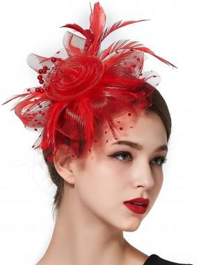 Rote Frauen Tea Party Stirnband Kentucky Derby Hochzeit Cocktail Flower Mesh Federn Haarspange