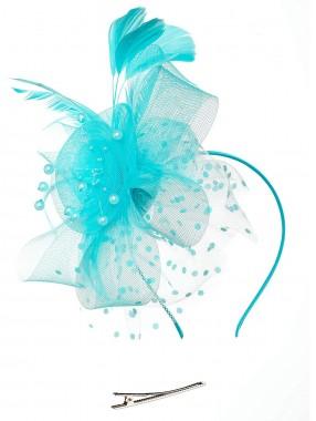 Himmelblaue Frauen Tea Party Stirnband Kentucky Derby Hochzeit Cocktail Blumennetz Federn Haarspange