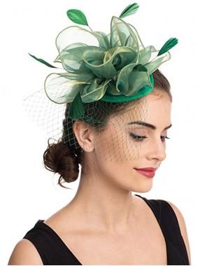 Mesh Green Fascinators Hut Sinamay Flower Mesh Federn auf einem Stirnband und einem Clip Tea Party Kopfbedeckungen für Mädchen und Frauen