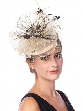 Beige Fascinators Hut Sinamay Flower Mesh Federn auf einem Stirnband und einem Clip Tea Party Kopfbedeckung für Mädchen und Frauen