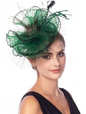 Grüne Fascinators Hut Sinamay Flower Mesh Federn auf einem Stirnband und einem Clip Tea Party Kopfbedeckung für Mädchen und Frauen