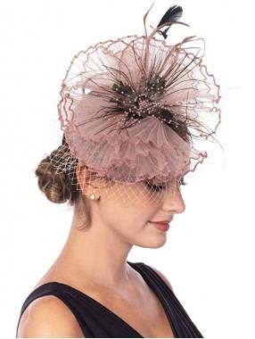 Hellrosa Fascinators Hut Sinamay Flower Mesh Federn auf einem Stirnband und einem Clip Tea Party Kopfbedeckung für Mädchen und Frauen
