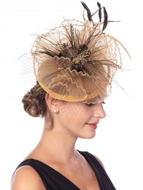Khaki Fascinators Hut Sinamay Flower Mesh Federn auf einem Stirnband und einem Clip Tea Party Kopfbedeckungen für Mädchen und Frauen