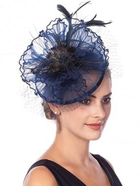 Navy Fascinators Hut Sinamay Flower Mesh Federn auf einem Stirnband und einem Clip Tea Party Kopfbedeckung für Mädchen und Frauen