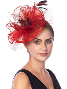 Rote Fascinators Hut Sinamay Flower Mesh Federn auf einem Stirnband und einem Clip Tea Party Kopfbedeckung für Mädchen und Frauen