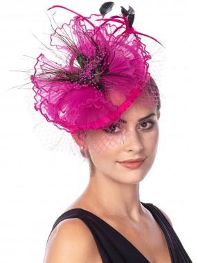 Rose Pink Fascinators Hut Sinamay Flower Mesh Federn auf einem Stirnband und einem Clip Tea Party Kopfbedeckung für Mädchen und Frauen