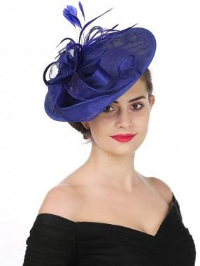 Sapphire Blue Fascinators Hut Sinamay Flower Mesh Federn auf einem Stirnband und einem Clip Tea Party Kopfbedeckungen für Mädchen und Frauen