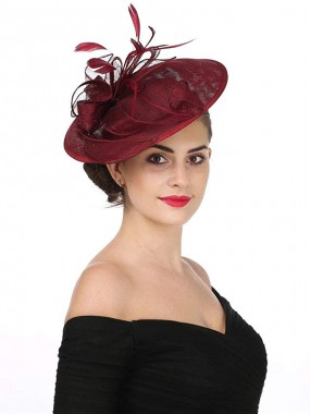 Burgunder Fascinators Hut Sinamay Flower Mesh Federn auf einem Stirnband und einem Clip Tea Party Kopfbedeckung für Mädchen und Frauen
