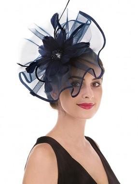 Navy Feather Mesh Fascinators Hut Blume Feather Net Mesh Kentucky Derby Tea Party Kopfbedeckung mit Haarspange und Haarband für Frauen