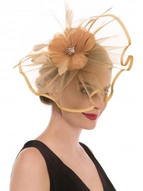 Khaki Feather Mesh Fascinators Hut Blume Feather Net Mesh Kentucky Derby Tea Party Kopfbedeckung mit Haarspange und Haarband für Frauen