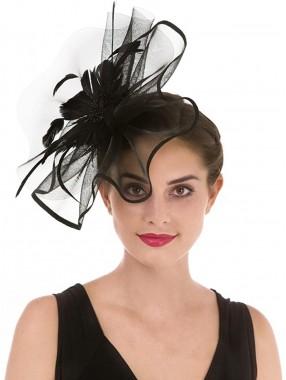 Black Feather Mesh Fascinators Hut Blume Federnetz Mesh Kentucky Derby Tea Party Kopfbedeckung mit Haarspange und Haarband für Frauen