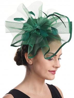 Dark Green Feather Mesh Fascinators Hut Blume Feather Net Mesh Kentucky Derby Tea Party Kopfbedeckung mit Haarspange und Haarband für Frauen