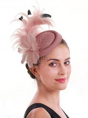 Pink Feather Mesh Fascinators Hut Blume Federnetz Mesh Kentucky Derby Tea Party Kopfbedeckung mit Haarspange und Haarband für Frauen